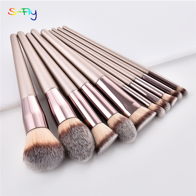 4/10pcs Champagne makeup brushes set for cosmetic  1