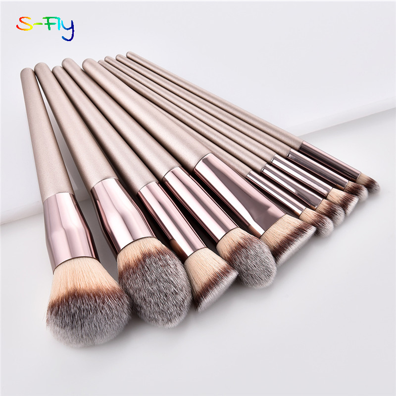 10 teile/satz Champagner make-up pinsel set für kosmetische foundation powder blush lidschatten kabuki blending make-up pinsel schönheit werkzeug