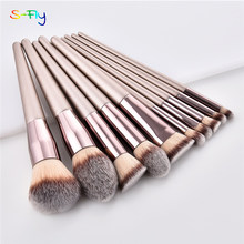 4/10Pcs Champagne Make-Up Kwasten Set Voor Cosmetische Foundation Poeder Blush Oogschaduw Kabuki Blending Make Up Brush Beauty tool