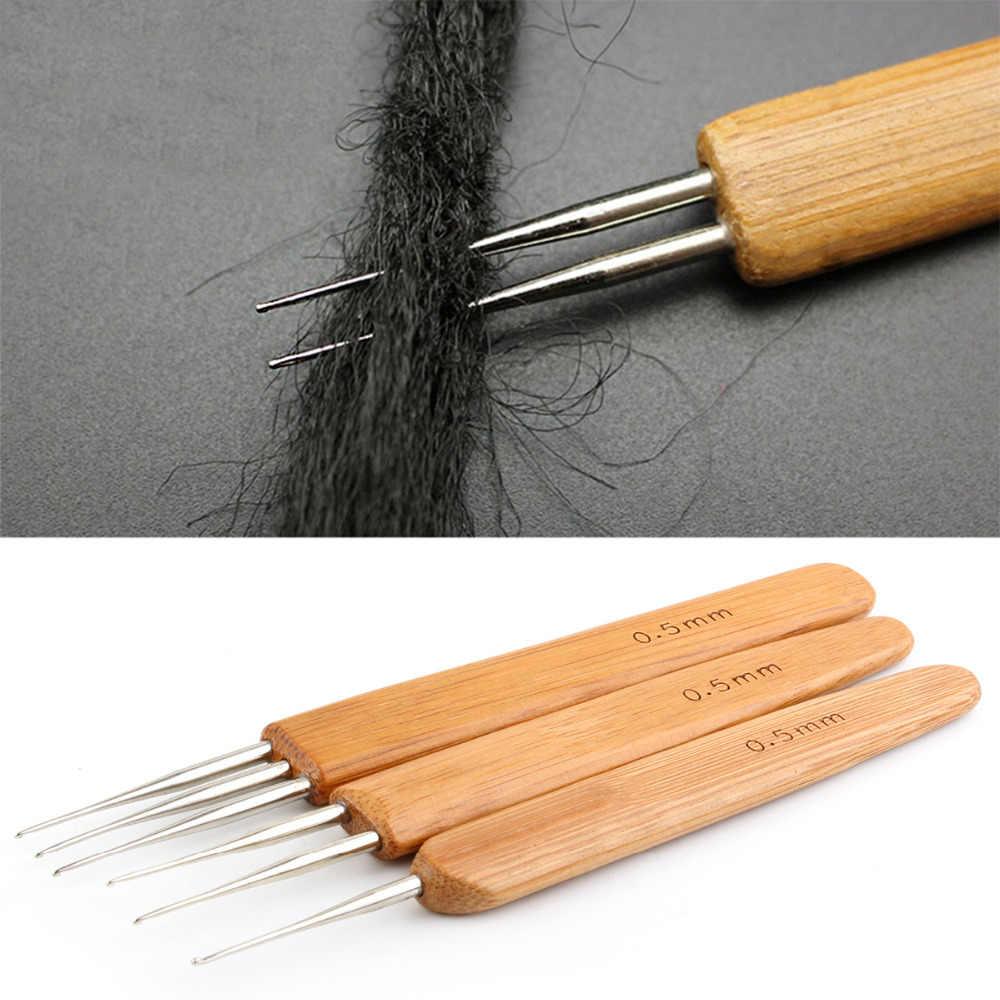 AliLeader 3 шт./компл. бамбуковой ручкой крючком иглы 0,5 мм крючком, дредлоки, для увеличения объема, «кроше» крюковые иглы для дреды один двойной тройной головкой