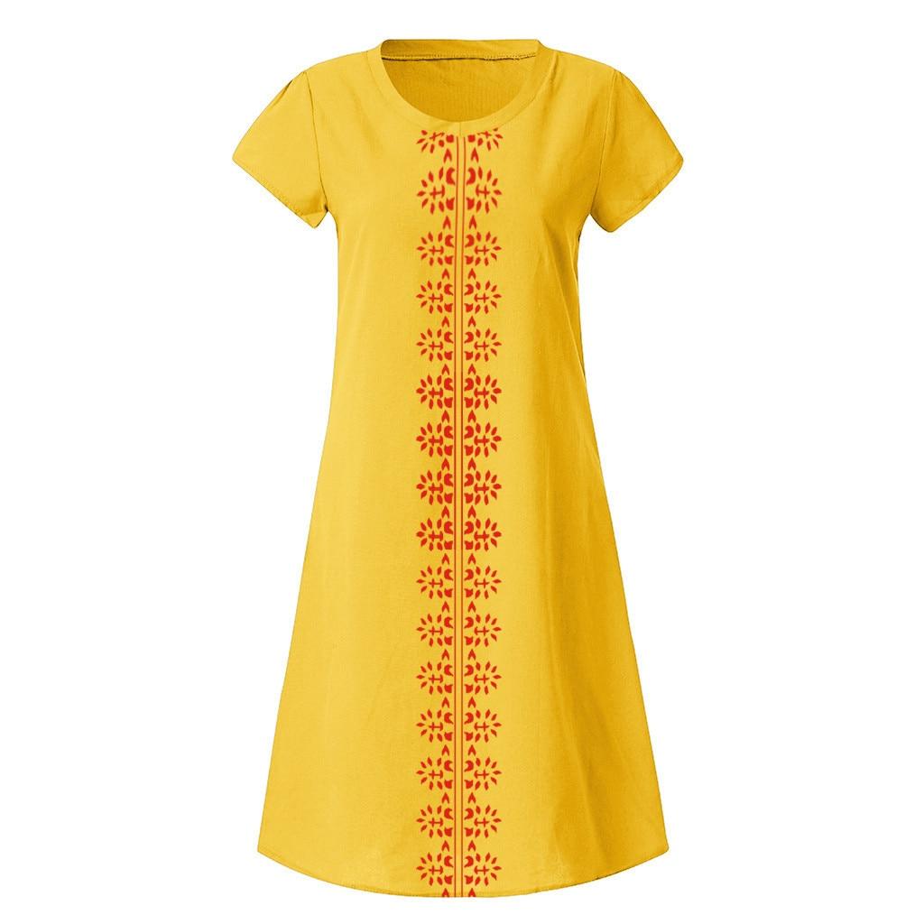 HTB1 3H8O6DpK1RjSZFrq6y78VXab Cotton And Linen women's clothing O-Neck summer dresses and sundresses Printed Plus Size Ladies dresses summer sukienka #G6