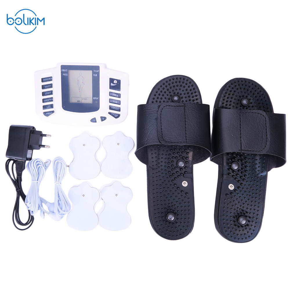 BOLIKIM Russian button Electroestimulador Muscular Body Relax Muscle Massager Pulse Tens Acupuncture Therapy Slipper+8 Pads+box bolikim electroestimulador muscular body relax muscle massager pulse tens acupuncture therapy slipper 8 pads box