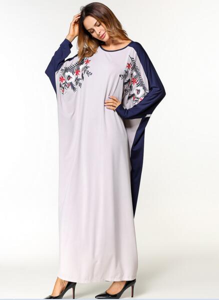 Femmes Broderie Plus Manches Printemps Chauve 2018 Maxi Longues Robe Robes Pour Automne Blanc souris Tuhao Zzl039 Taille Musulman vNwm0n8