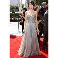 Carpet Celebrity Dresses Grey A-Line Long Prom Dresses Beads Pleat Sweetheart Chiffon Long Prom Dresses Party vestido de festa