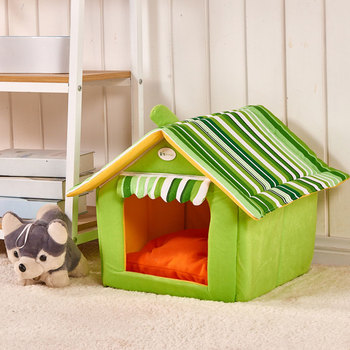 CAWAYI KENNEL Stripe Soft Home Shape Dog Bed Dog Kennel Pet House For Puppy Dogs Cat Small Animals Home Products Removable U0855 1