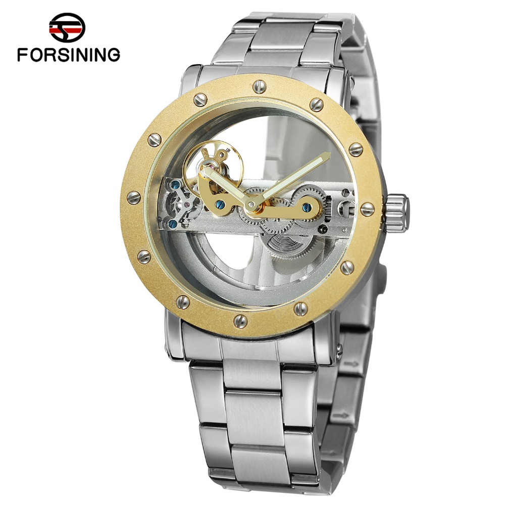 Forsining Mechanical Watches Mens Automatic Watch Men Luxury Brand Famous Stainless Steel Mechanical Watch Orologio Uomo Hodinky mens branded luxury fashion watch men automatic ultra thin gold full steel mesh watches men dress mechanical watch orologio uomo