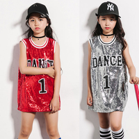Jazz Girls Hip Hop Dance Costumes Children Red Silver Sequin Vest Dress Kids Street Dancing Clothing Ballroom Stage Wear DN1744