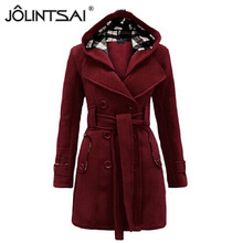 6 Colors 2015 New Autumn Winter Women Coat Double Breasted Hooded Collar Slim Long Style Wool Blends Coat With Belt MM0226