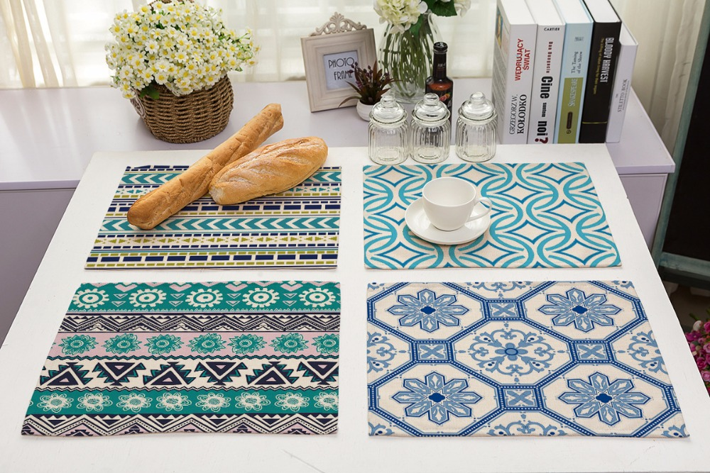42*32cm Colorful geometric ethnic wind stripes Cotton Table Napkins Polyester Dinner Cloth Hotel Table Napkins