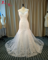 Jark Tozr Real Picture V Neck Spaghetti Straps Beading Appliques Ivory Tulle Princess Sheath Wedding Dresses
