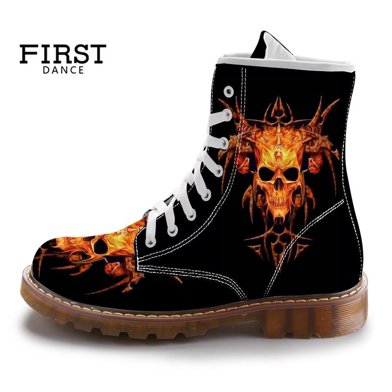 Printemps personnalisé filles Martin bottes impression 3D Images toile à lacets chaussures hautes Oxford décontracté femmes chaussures noir 35-45