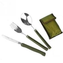 Camping Picnic Tableware 3pcs/set Multi-function Stainless Steel Army Green Folding Cutlery Set with Pouch Cooking