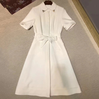 womens solid long dress summer 2018 elegant short sleeve casual dress for women fashion a line dress office