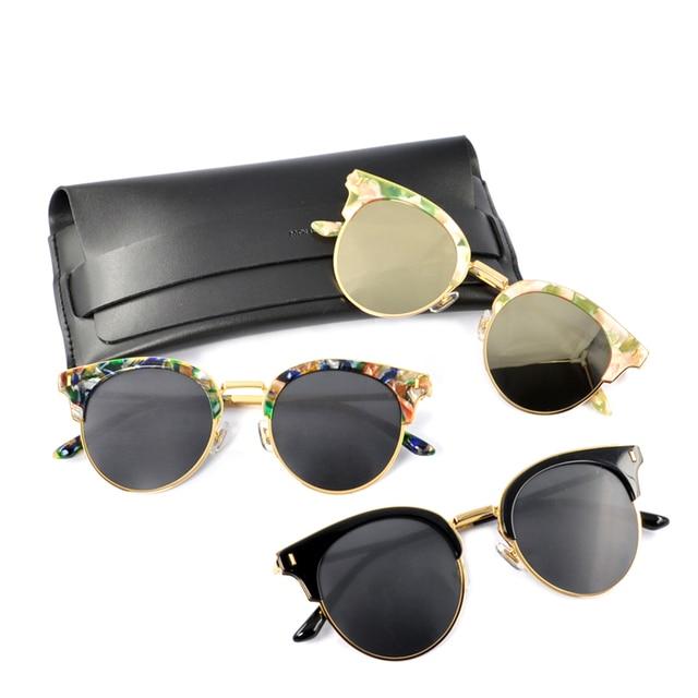 Eyeglasse suave kong GM type1 Metade quadro Óculos De Sol para As Mulheres Armações  redondas Do 2853366815