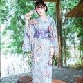 Японские Женщины Синий Цветочный Длинные Кимоно Юката С Поясом Широкий Рукав Костюм
