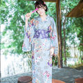 Mulheres japonesas Azul Floral Kimono Yukata Com Cinto Largo de Manga Longa Traje