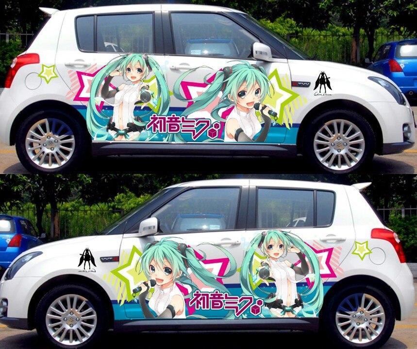 2 pièces Personnalisable Anime Toute Mignon Voiture Autocollants Graffiti Vinyle Wrap Sexy Silhouette Autocollant de Voiture Hatsune Miku CN151