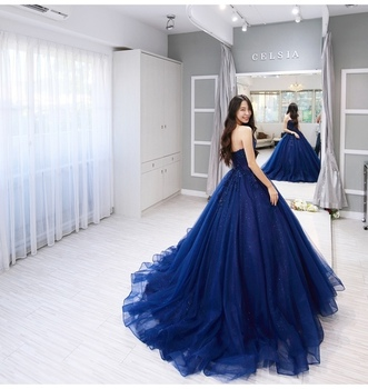 Vintage blue Lace Sleeveless Ball Gown Prom Dresses 2019 Applique Beading Sweetheart Neckline Custom Made Evening Dress 3