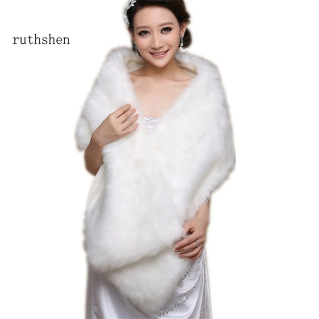 Ruthshen جديد العاج فو الفراء الزفاف التفاف شال الرأس سرق بوليرو رمي تتغاضى معطف DS0817