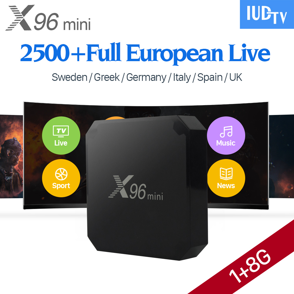 X96 mini 4K Smart Android 7.1 TV Box IPTV Europe Arabic 1 Year IUDTV Code French Sweden Spain Italia Norway X96min IPTV Top Box