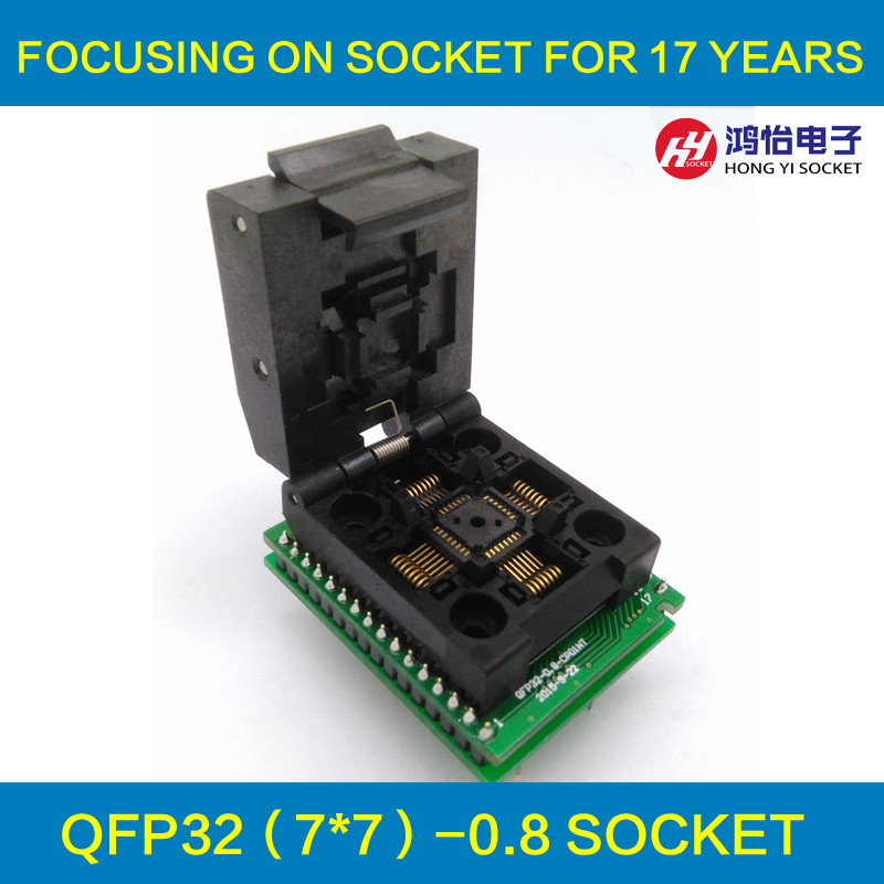 Universal IC Adapter QFP32 TQFP32 LQFP32 Clamshell IC51-0324-1498 Pitch 0.8mm Programming Socket Plug SMT/SMD Test Socket free shipping sop32 wide body test seat ots 32 1 27 16 soic32 burn block programming block adapter