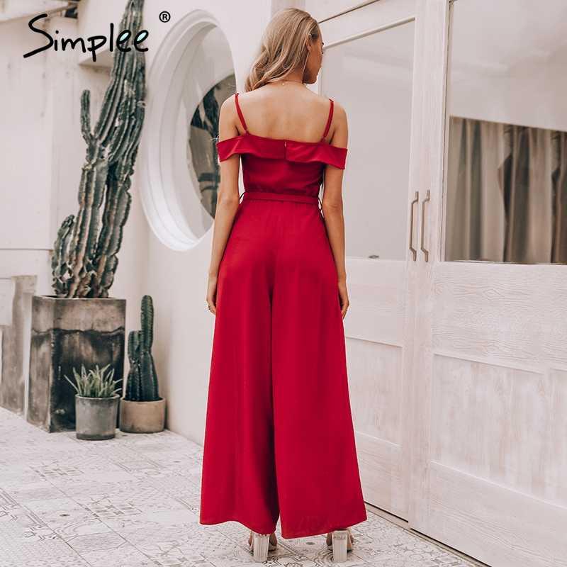 Simplee เซ็กซี่ปิดไหล่ผู้หญิง jumpsuit Romper Elegant เอวสูงสีแดง jumpsuit ฤดูร้อนยาวขากว้าง Lady Playsuit overalls 2019
