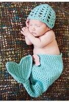 인어 디자인 블루 크로 셰 뜨개질 모자 및 코쿤 세트 유아 신생아 아기 소녀 사진 사진 소품 수제 니트 의상
