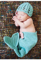 The Little Mermaid Design Blu Crochet Hat e Cocoon Set Neonato Baby Girl Foto Fotografia Props Handmade Knit Costume