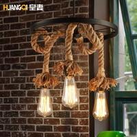 Amerikanischen Dorf Loft Hanf Seil Kronleuchter Für Esszimmer Wohnzimmer Bar Hängen Licht Lampe E27 Skandinavischen küche kronleuchter-in Pendelleuchten aus Licht & Beleuchtung bei