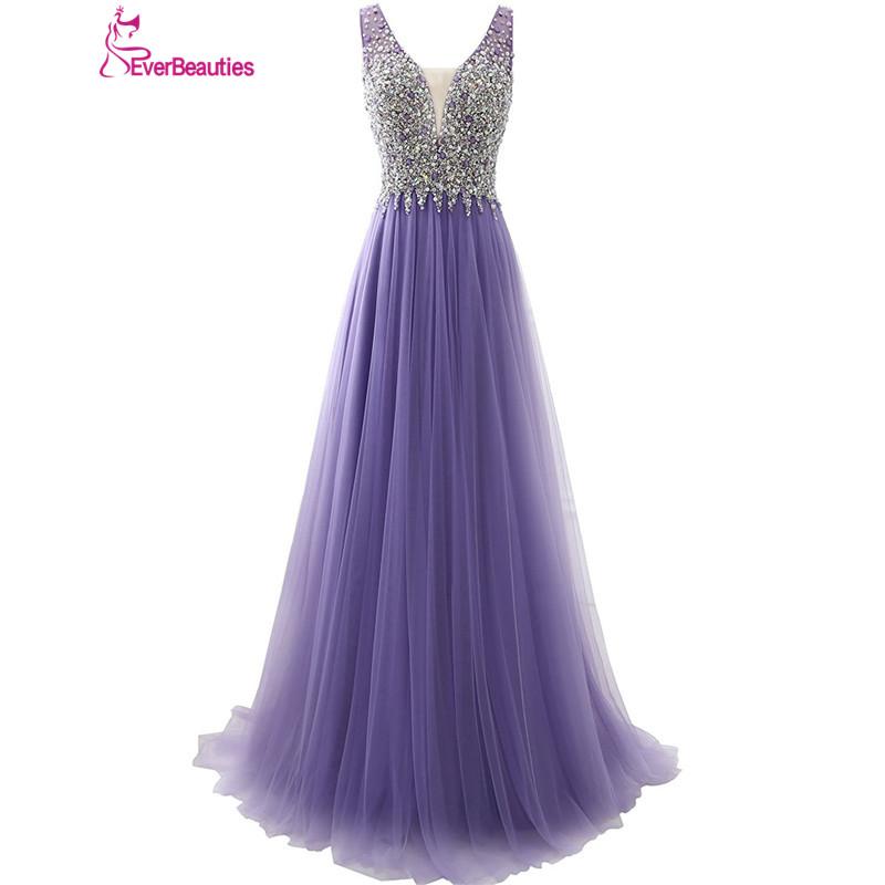 Purple   Prom     Dresses   2019 Tulle Beaded Backless Evening Party   Dresses   Backless A line V-Neck Vestidos De Graduacion