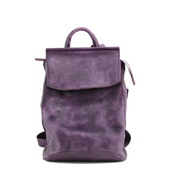 Unique Three-way Designer Genuine Cow Leather Girls Women Travel Backpack Vintage Tanned Color Ladies Female Multifunctional Bag