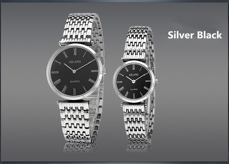 AILANG Vintage Roman Lovers Watches Simple Fashion Ultra-thin Quartz Watch Couple Stainless Steel Wristwatch 2-hand Analog A108 fashion couple s stainless steel analog digital quartz waterproof wrist watch silver 2 pcs