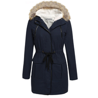 2018 Women Winter Coat Dark Blue Spring Hoodied Overcoat Zipper Lace Up Fashion Overwear Thick Casual