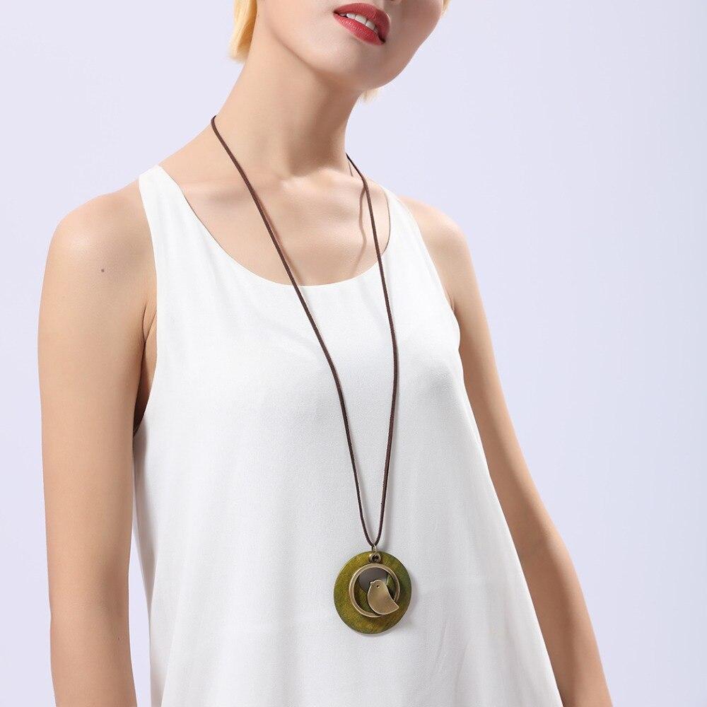 kvinna smycken uttalande halsband & berlocker, fågel trä pärla - Märkessmycken - Foto 2
