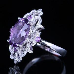 Image 3 - HELON anillo de compromiso de Plata de Ley 925 con amatista Natural, anillo ovalado con diamantes de 100% de 4,54 quilates, joyería fina con flores especiales para mujeres