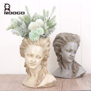 Image 3 - ROOGO succulent plant flower pot the head of elegant Greek goddess bonsai planter garden pot hand crafts home desktop decoration
