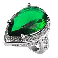 ירוק קריסטל זירקון עם טבעת הכסף סטרלינג 925 זירקון גביש לבן רב מחיר מפעל לנשים גודל 6 7 8 9 10 11 F1502