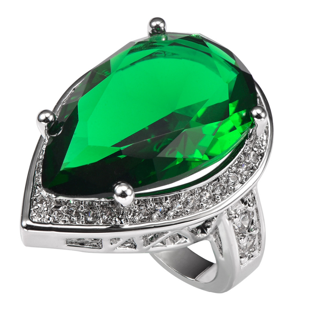 Green Crystal Zircon With Multi White Crystal Zircon 925 Sterling Silver Ring Factory price For Women Size 6 7 8 9 10 11 F1502