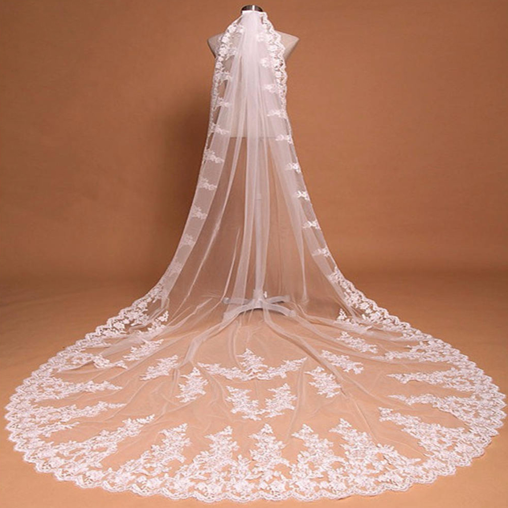 Romantic One Layer Cathedral Long Wedding Veil With Comb Lace Edge Bridal Voile Marriage White Ivory Wedding Accessories