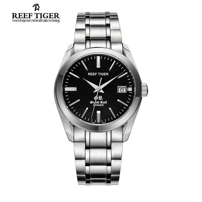 Reef Tiger Top Brand Luxury Business Watches Men Fashion Sport Automatic Stainless Steel Waterproof Watch Relogio Masculino reef tiger brand men s luxury swiss sport watches silicone quartz super grand chronograph super bright watch relogio masculino