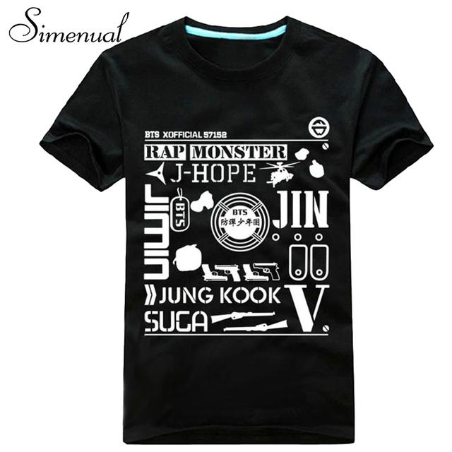 BTS emparelhados camisetas de manga curta 2016 verão carta de impressão mais tamanho roupas casal branco preto camisetas y encabeça moda t camisa