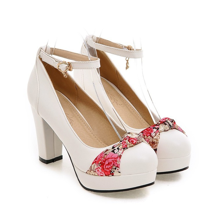 rose Plate Femmes Rose forme Pompes blanc Talons Chaussures Broderie De bleu Chunky Noir Hauts Bleu Cm Blanc Nouvelles Mode Noir Mary 9 Jane 6IwdqI1