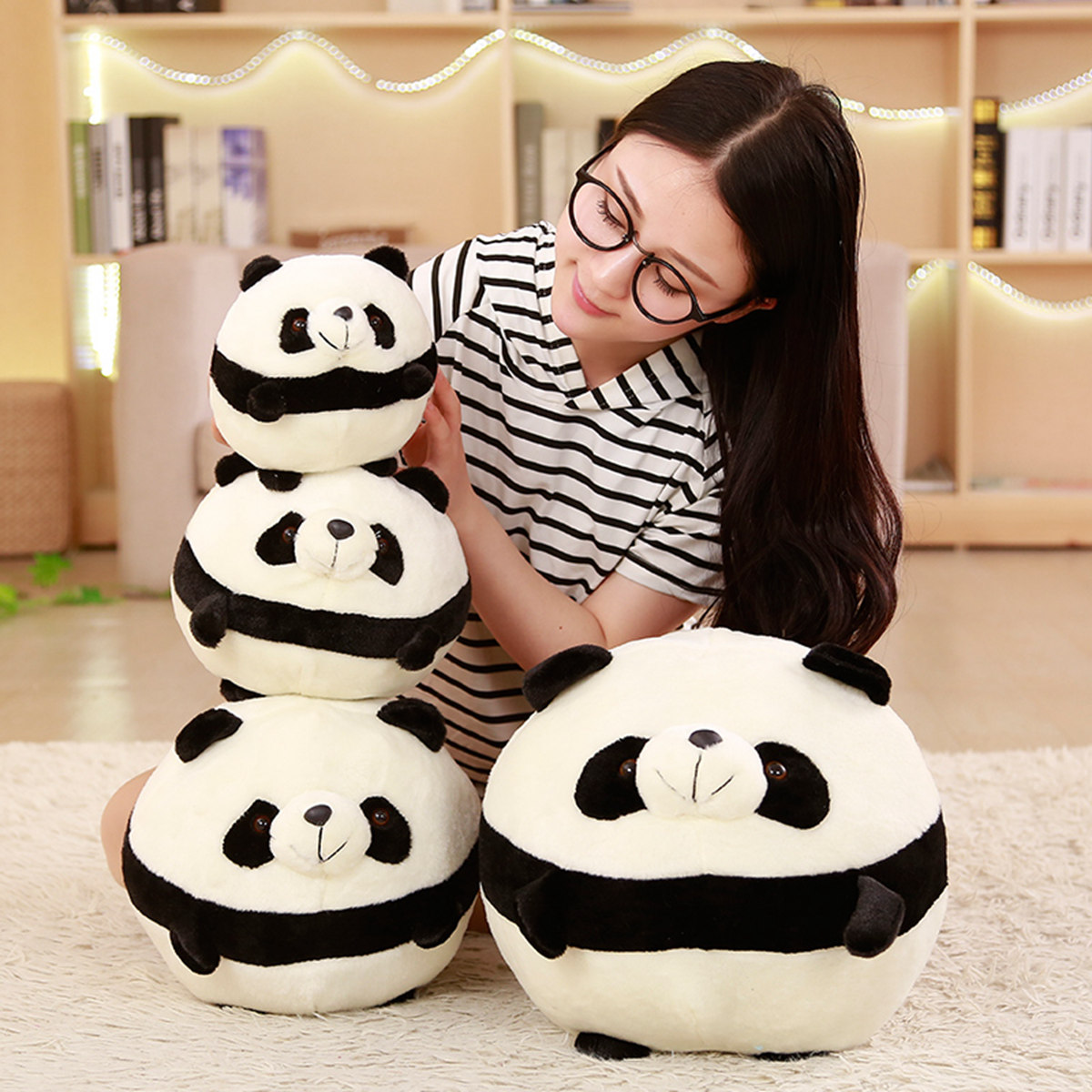 Round Spherical Black And White Panda Cute Kawaii Doll Plush Toy Pillow Children Birthday Gift Soft Doll Toys For Children Gifts