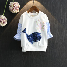 Baby Girls Long Sleeve Top 2016 Autumn Whale Sequins Striped Patchwork Sweatshirt Top Korean Children Clothing Kids Tshirt 2-7Y
