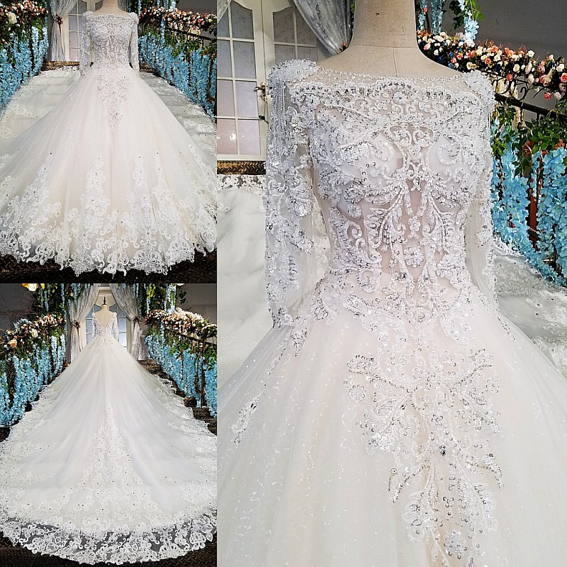 LS00213 vestido de noiva casamento backless appliques 3/4 mouwen kant - Trouwjurken - Foto 6