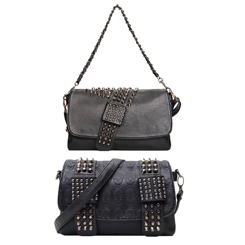 907.02руб. 27% СКИДКА|Женская винтажная сумка через плечо с заклепками, клатч, маленькая сумка через плечо|Сумки с ручками| |  - AliExpress