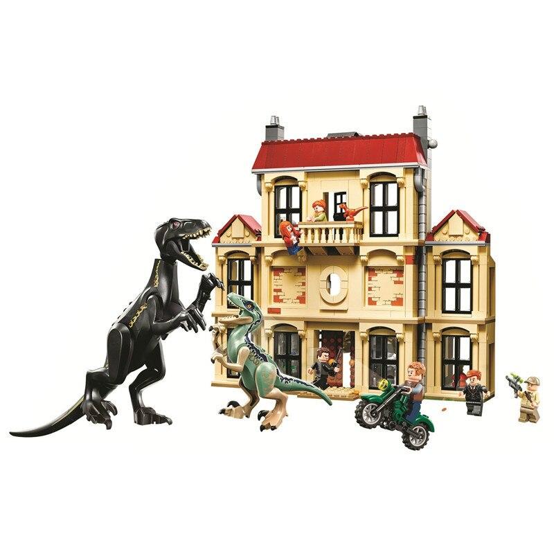 Bricolage Jurassiced Monde Indoraptor Saccage à Lockwood Immobilier Modèle blocs de construction jouets dinosaures Briques compatible avec Avec légèreté