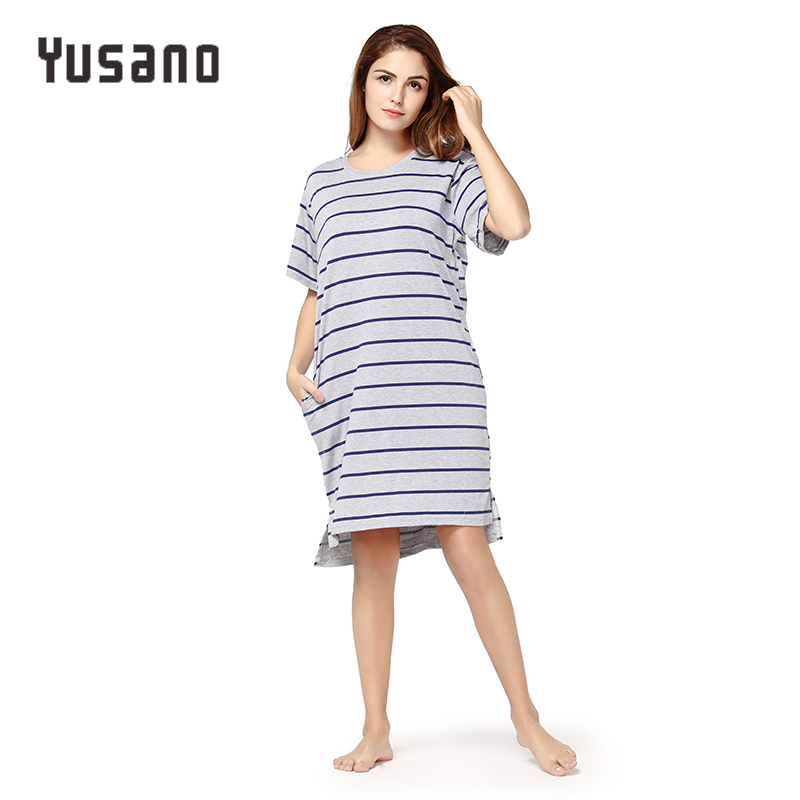 Yusano Women Nightgown Cotton Casual Night Dress Summer Spring Nightshirt Short Sleeve Sleepwear Dress Female Nightie Plus Size