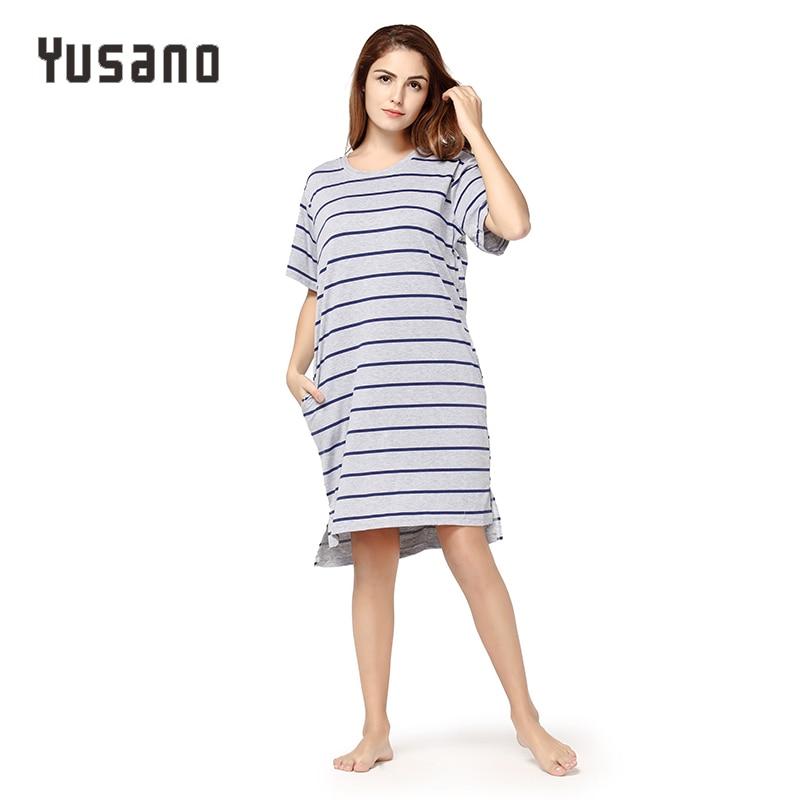 Yusano Women Nightgown Cotton Casual Night Dress Summer Spring Nightshirt Short Sleeve Sleepwear Dress Female Nightie Plus Size