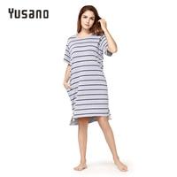 Yusano Women Nightgown Cotton Casual Night Dress Summer Spring Nightshirt Short Sleeve Sleepwear Dress Female Nightie
